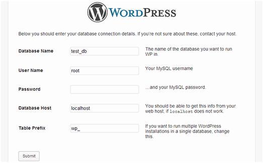 WordPress_database_connection_details_WAMP
